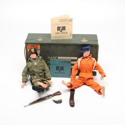 Hasbro G.I. Joe Dolls with Accessories and Footlocker Storage Case, 1964