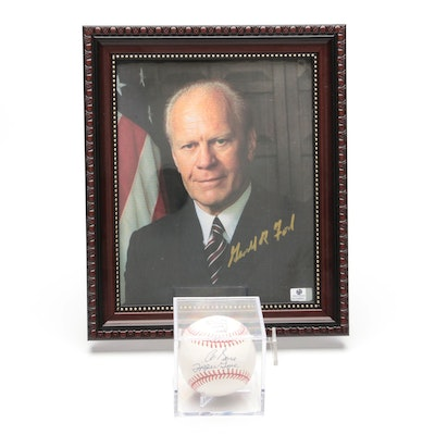 Al and Tipper Gore Signed Rawlings MLB Baseball and Gerald Ford Photo Print