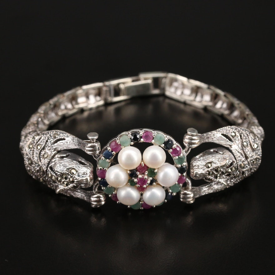 Sterling Dual Leopard Bracelet Including Pearl, Marcasite and Ruby