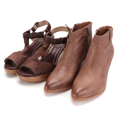 Frye Leather Stephanie Platform Sandals and Frye Reina Booties with Boxes