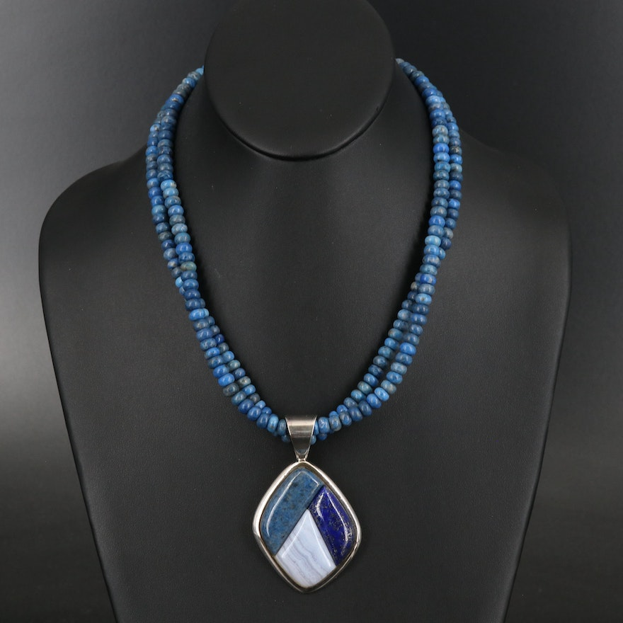 Desert Rose Trading Lapis Lazuli and Agate Necklace