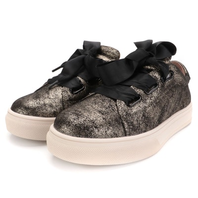 Caslon Gold Speckled Leather Sneakers with Ribbon Laces