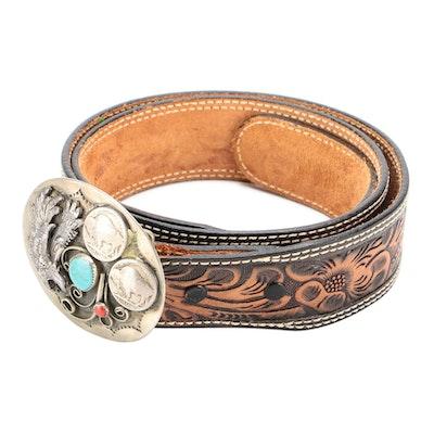 Eagle and Buffalo Nickel Southwestern Style Buckle on Tooled Leather Belt