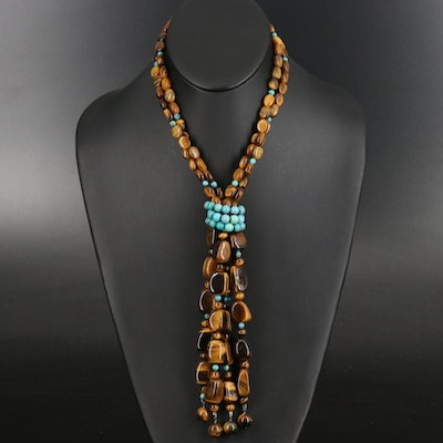 Tiger's Eye and Turquoise Beaded Tassel Necklace with Sterling Clasp