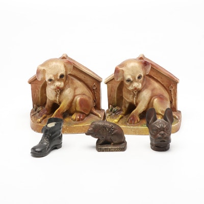 Puppy in Dog House Form Bookends and Paperweights