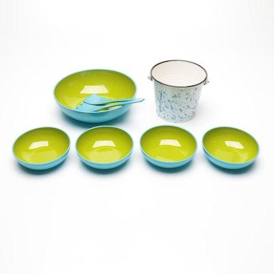 Lorrie Designs Lacquerware Salad Serving Set with Bucket