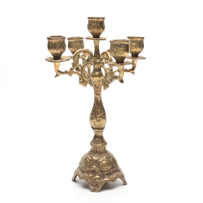 Baroque Style Gilt Metal Five Light Candelabra, Early to Mid 20th Century