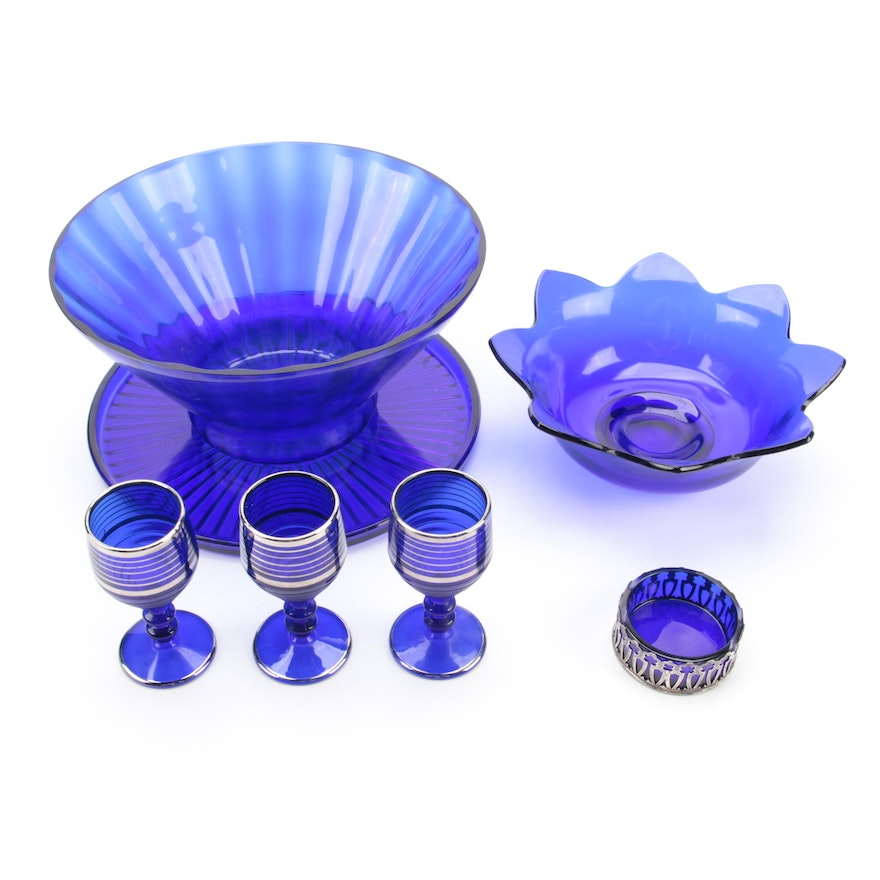 Paden City Cordials, and Sterling Overlay Salt, with Other Cobalt Glass
