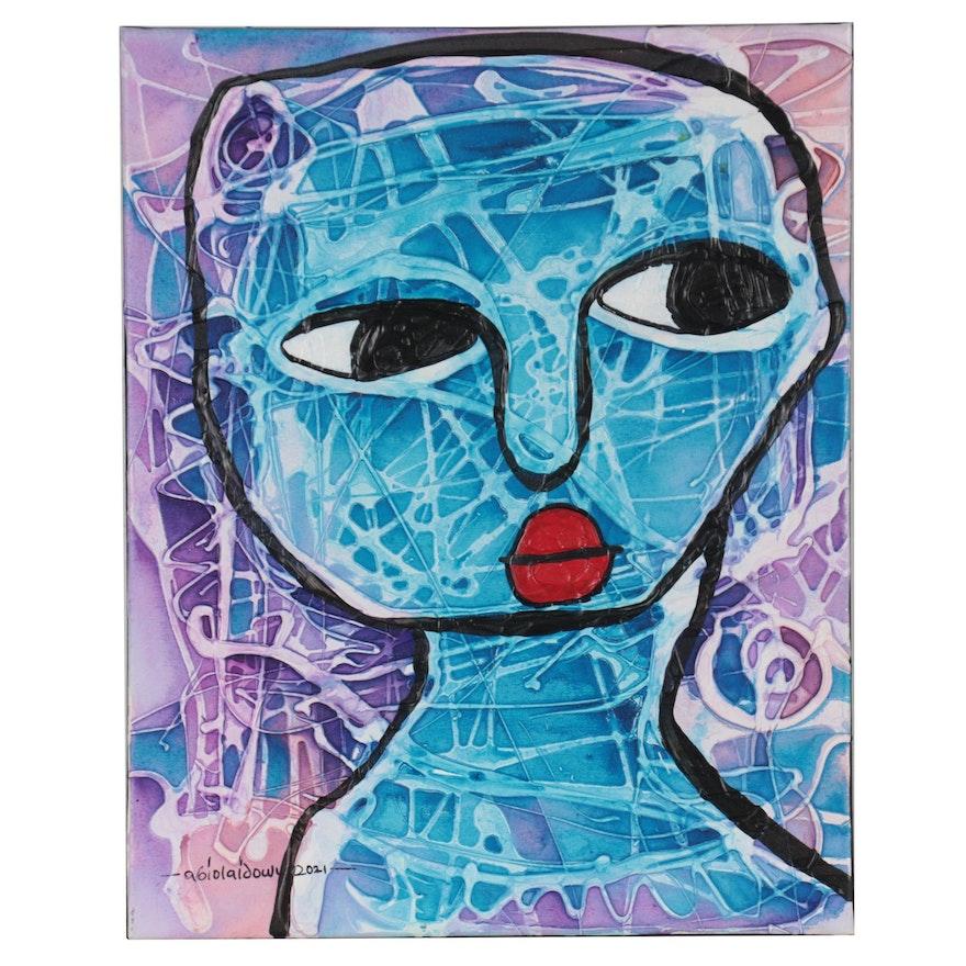 "Abiola Idowu Mixed Media Painting ""Omo Lewa (Beautiful Lady),"" 2021"