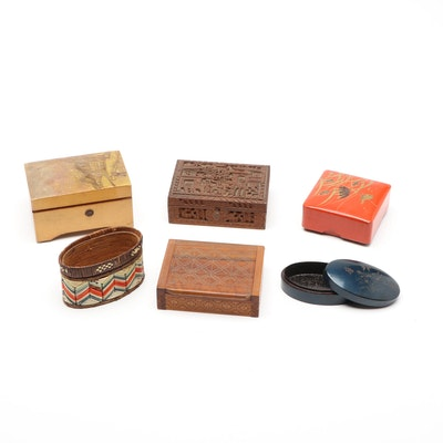 Decorative Wooden and Lacquerware Boxes with Music Box