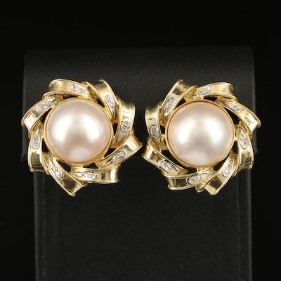 14K 16.60 MM Mabé Pearl and Diamond Accented Pinwheel Earrings
