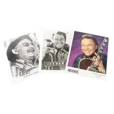 """Roy Clark and Grandpa Jones Signed Country 'Hee Haw"""" TV Show Photo Prints"""