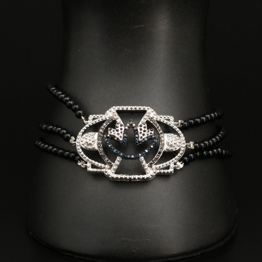 Triple Strand Beaded Black Onyx, Sterling Silver and Diamond Bracelet