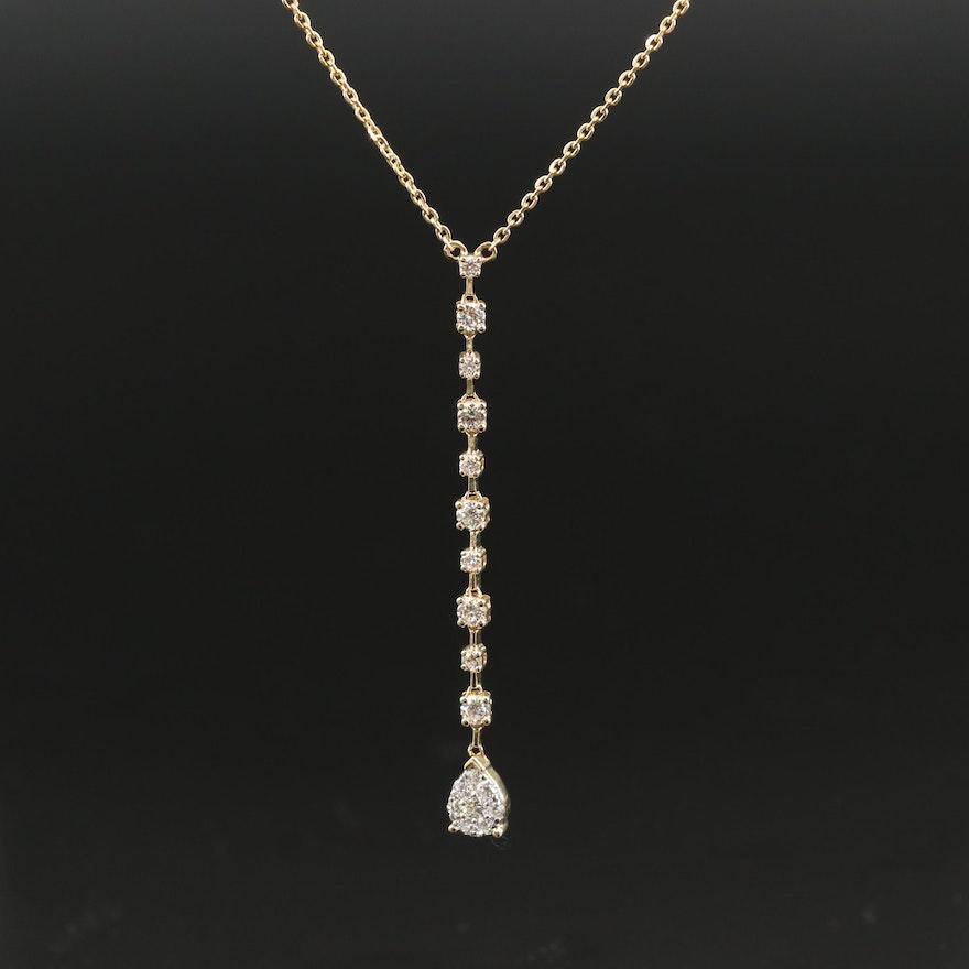 14K Diamond Y Necklace