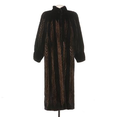Mink Fur Chevron Patterned Full-Length Coat