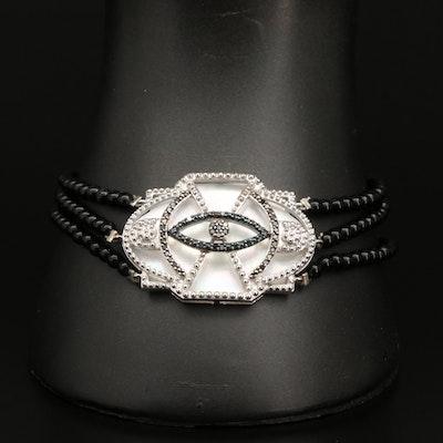 Sterling, Black Onyx, Mother of Pearl and Diamond Evil Eye Bracelet