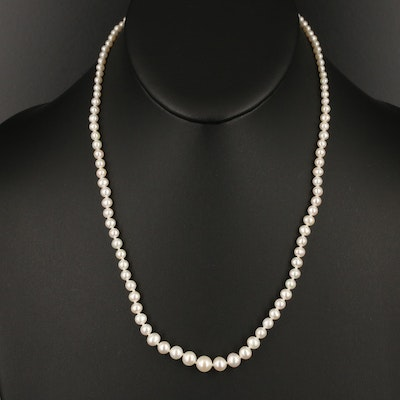 Graduated Semi-Baroque Pearl Necklace with 14K Clasp