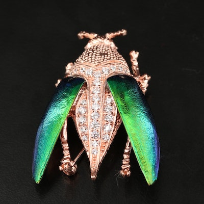Sterling Beetle Converter Brooch with Cubic Zirconia and Elytra Wings