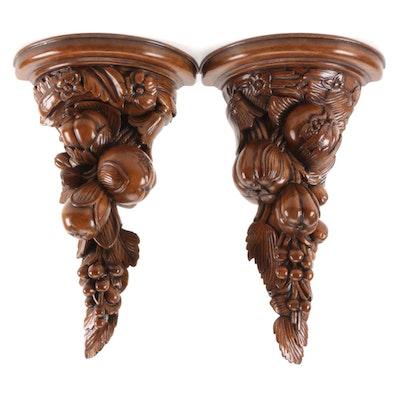 Pair of Carved Wooden Fruit Form Corbel Shelves