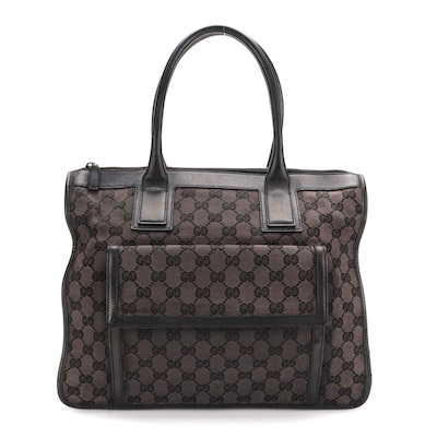Gucci Satchel in Black GG Canvas and Smooth Leather