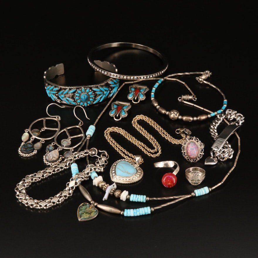 Mixed Metal Jewelry Including Abalone, Faux Opal and Faux Turquoise