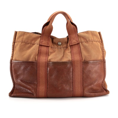 Hermès Fourre Tout Cuir GM in Brown Canvas and Grained Leather