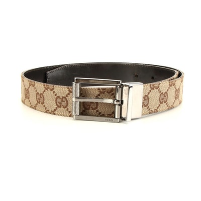 Gucci Reversible GG Canvas and Brown Smooth Leather Belt
