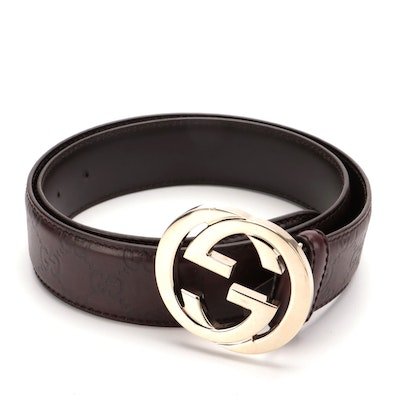 Gucci Guccissima Brown Leather Belt with Interlocking GG Buckle
