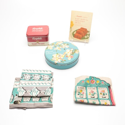 Campbell Cookbook with Tins and Linen Tea Towels