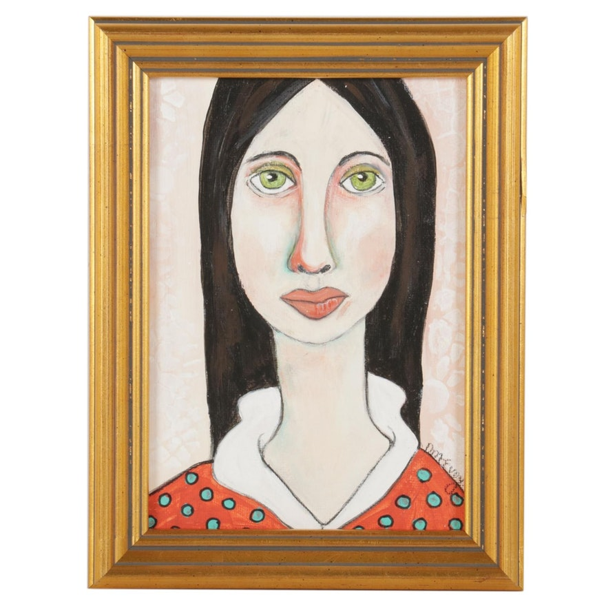 "Deborah McEvoy Portrait Acrylic Painting ""I Feel Alive,"" 21st Century"