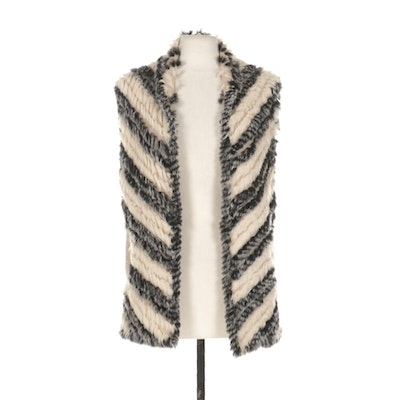 Marc By Marc Jacobs Knit Vest With Dyed Whole Skin Rabbit Fur