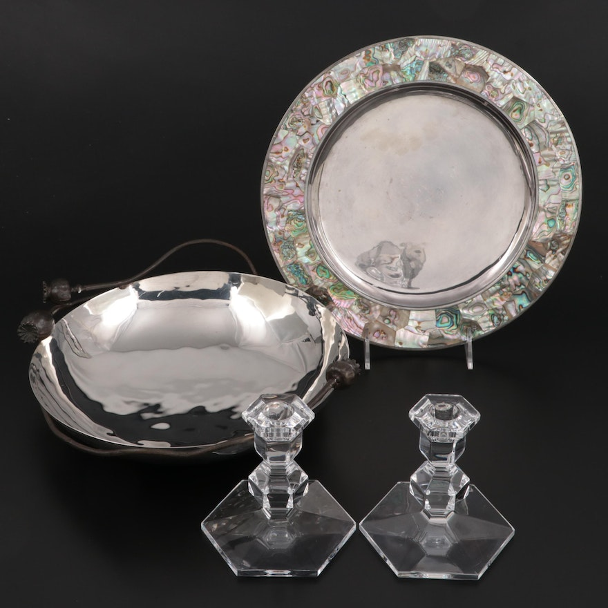 """Val St Lambert """"Gardenia"""" Candlesticks with Michael Aram Bowl and Other Plate"""