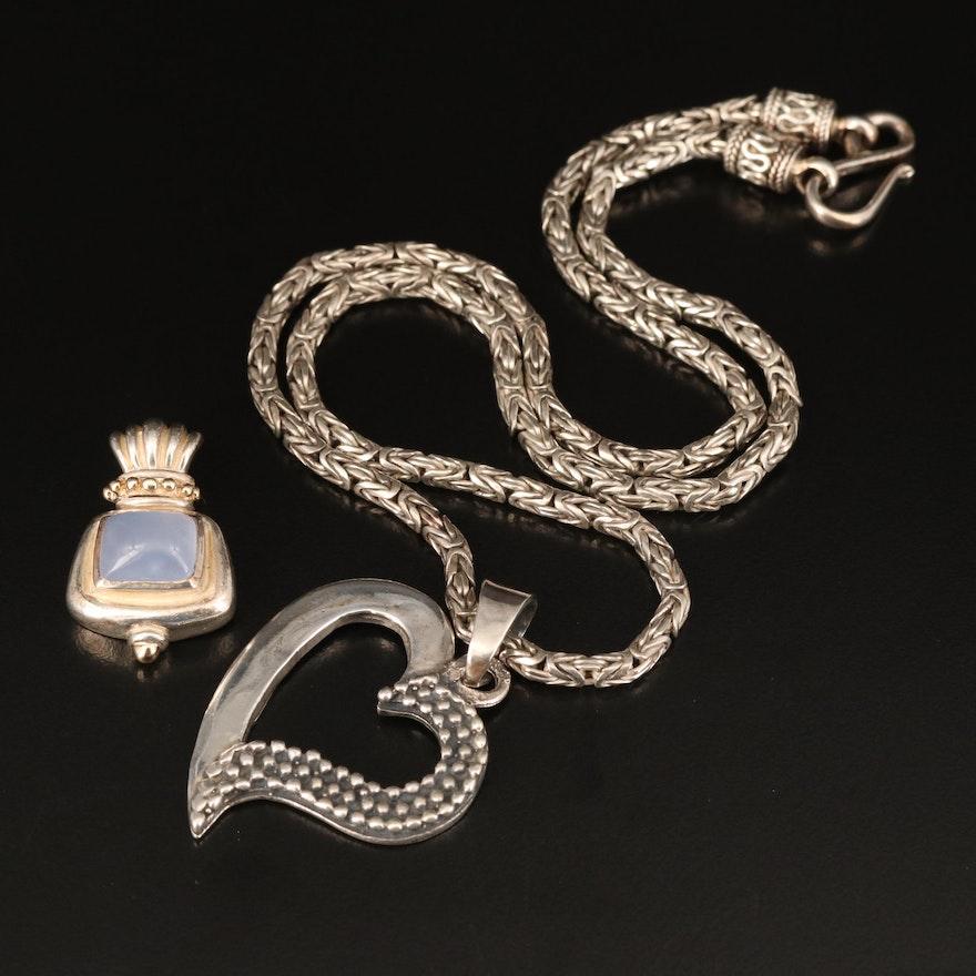 Sterling Heart Necklace with Samuel Benham Chalcedony Enhancer Pendant