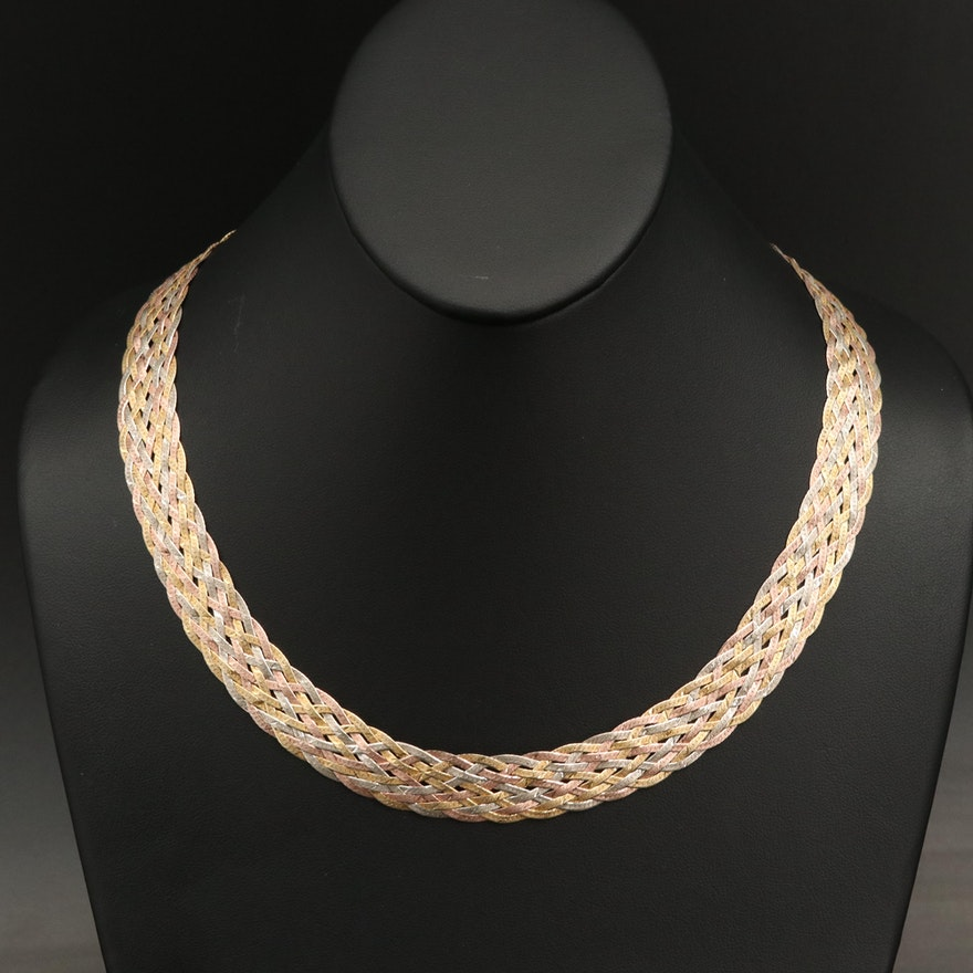 Tri-Color Woven Sterling Silver Herringbone Chain Necklace