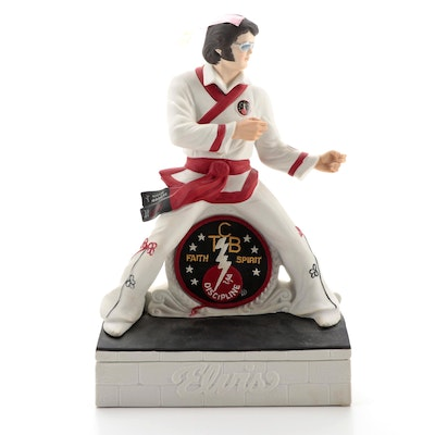 """Elvis Presley """"Karate"""" McCormick Bourbon Ceramic Musical Decanter with Patches"""