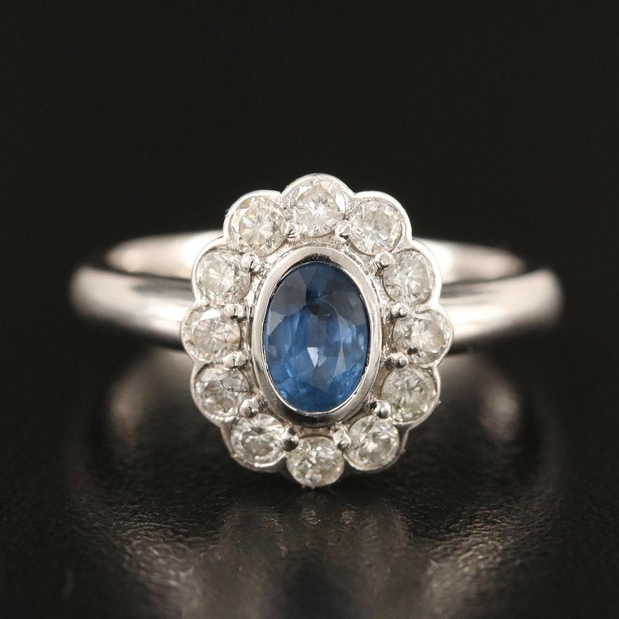 18K Sapphire Ring with Diamond Halo
