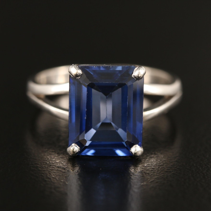 14K Sapphire Ring with Split Shoulders