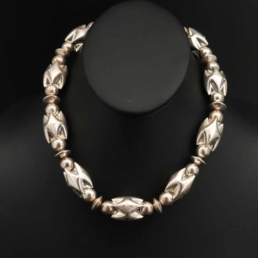 Sterling Silver Necklace with Geometric Features