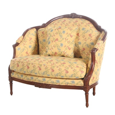 Hickory White Louis XVI Style Upholstered Wooden Armchair