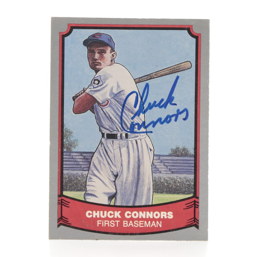 """1988 Chuck Connors Signed """"The Rifleman"""" Pacific Baseball Card"""