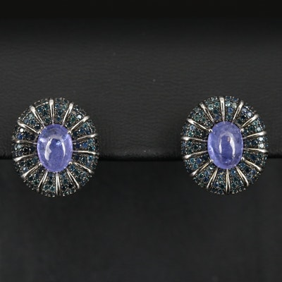 Sterling Tanzanite and Sapphire Earrings