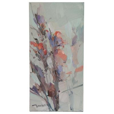 """Jose Trujillo Floral Oil Painting """"Delphinium Bundle,"""" 2021"""
