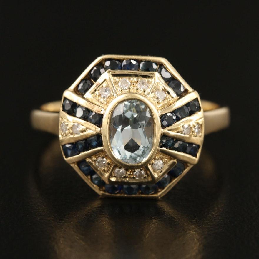 14K Aquamarine, Sapphire and Diamond Ring