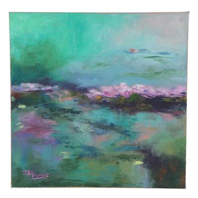 """James Baldoumas Landscape Oil Painting """"Lily Pads,"""" 2021"""