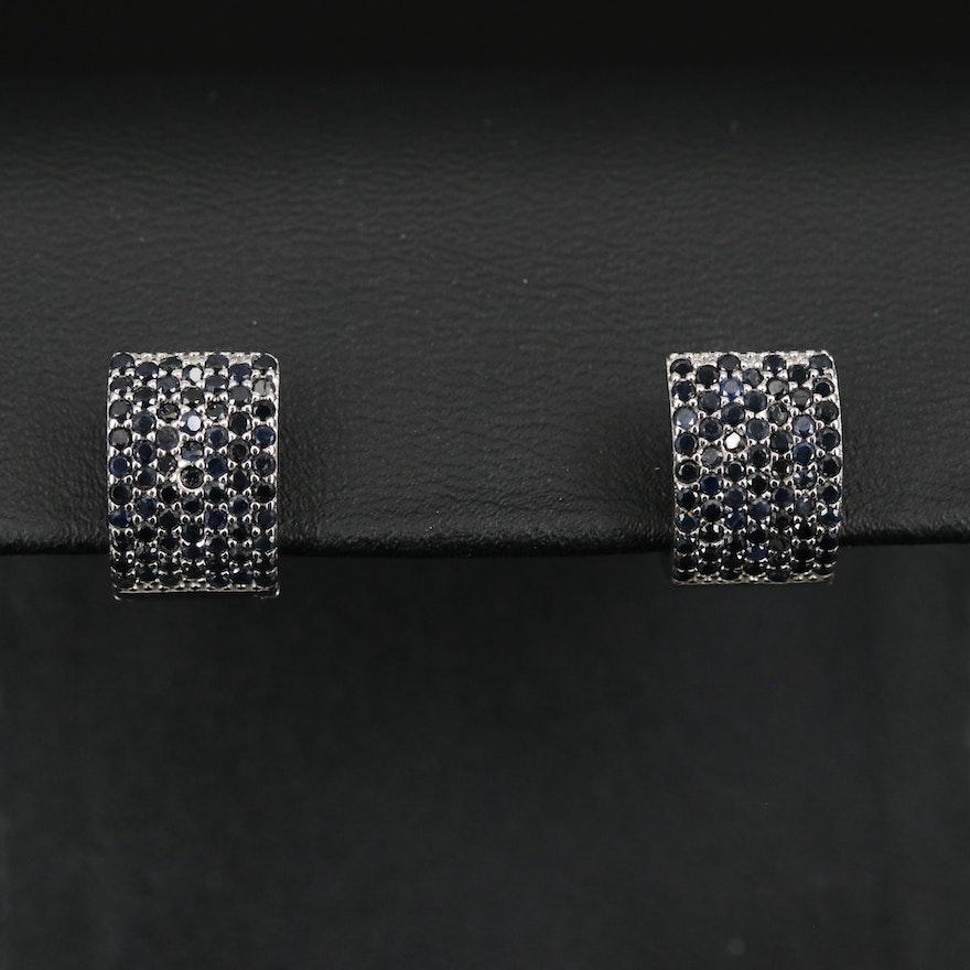 Sterling Sapphire Huggie Earrings