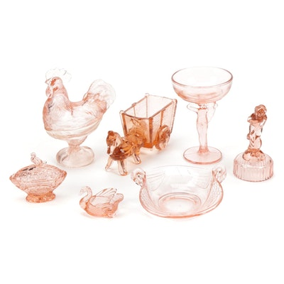 Bashful Charlotte Flower Frog and Other Pink Depression Glass Tableware