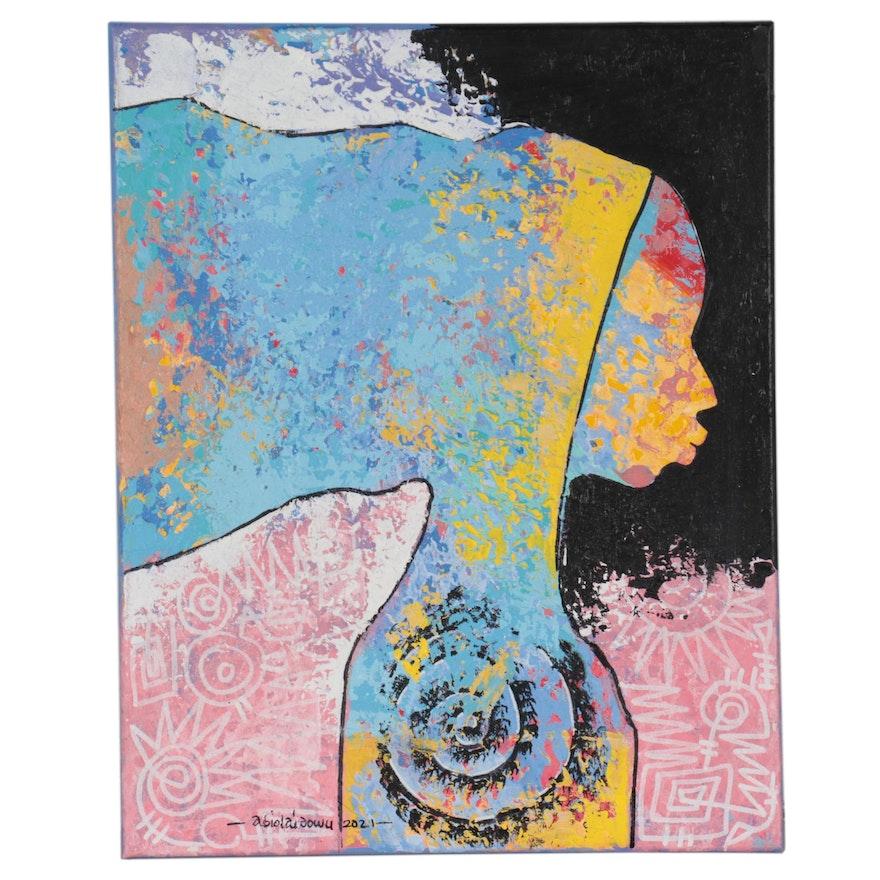 "Abiola Idowu Mixed Media Painting ""Attitude Status"""