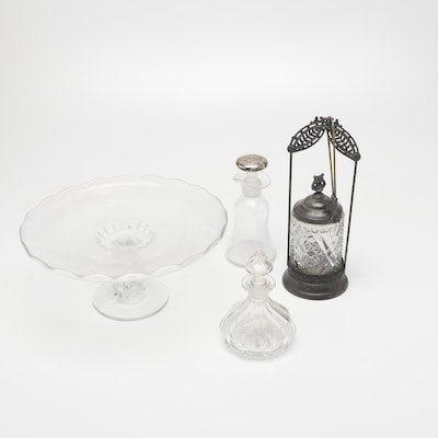 Glass Cake Plate, Crystal Oil and Vinegar Decanters, and Olive Jar