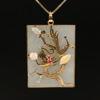 14K Jadeite, Opal and Ruby Diamond Reversible Dragon Pendant Necklace