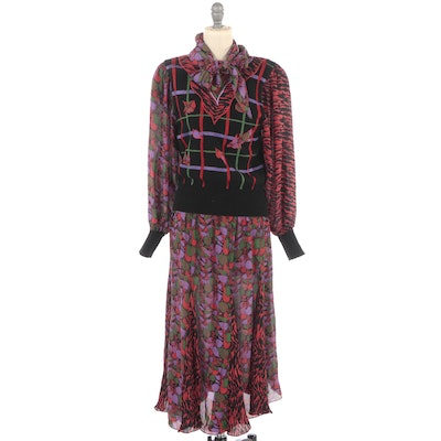 Diane Freis Knits Mixed Pattern Blouse and Skirt Set with Matching Scarf